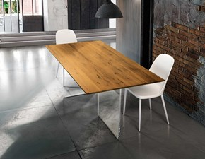Tavolo rettangolare con basamento centrale Tavolo in legno massello con base in vetro Mottes selection scontato