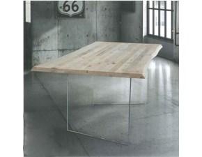 Tavolo rettangolare in legno  atelier in massello e cristallo -art.809 Artigianale in Offerta Outlet