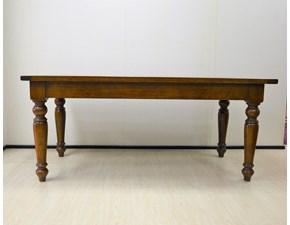 Tavolo rettangolare con struttura e piano d'appoggio in legno massello di Produzione Artigianale.  Scontato del -57%. Offerta Outlet Mobilgross