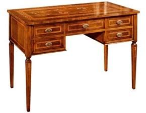 Tavolo rettangolare in legno Scrivania in legno intarsiata con cassetti mottes mobili Artigianale in Offerta Outlet