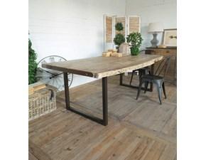 Tavolo rettangolare in legno Tavolo fisso industrail brook in ferro e legno    Outlet etnico in Offerta Outlet