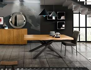 Tavolo rettangolare in legno Tavolo massello rovere nodato grano grande Mottes selection in Offerta Outlet