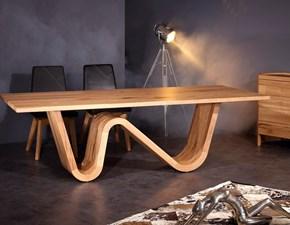 Tavolo rettangolare in legno Wave Artigianale in Offerta Outlet