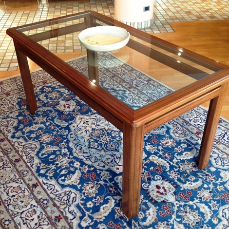 Tavolo rettangolare in noce nazionale con piano in cristallo tavoli a prezzi scontati - Tavolo cristallo rettangolare usato ...