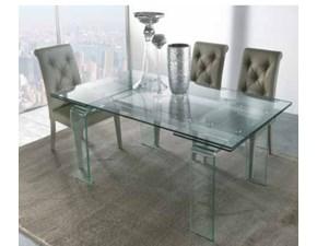 Tavolo rettangolare in vetro 8676/1 Artigianale in Offerta Outlet