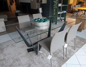 Doppio Piedistallo in Acciaio Spazzolato Prezzo Outlet MaisonOutlet Tavolo Design con Piano in Vetro TEMPERATO Trasparente e Base in Vetro Temperato Trasparente