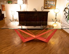 Tavolo rettangolare in vetro Skorpio base arancio Cattelan in Offerta Outlet