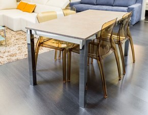 Tavolo rettangolare Mio 160x80, verniciato, allungabile, con struttura cromata