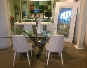 Tavolo Riflessi Shangai big piano in cristallo temperato e basamento in acciaio inox specchiante