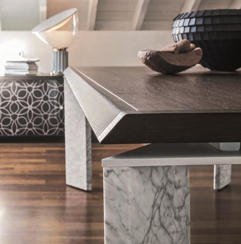 Tavolo roma della tonin casa versione marmo e legno for Tavolo legno piano marmo