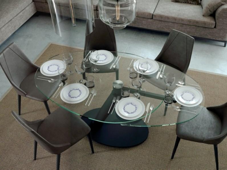 Tavolo rotondo in cistallo allungabile di nuova produzione in