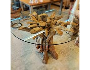 Tavolo rotondo in vetro Radice teak-pezzo unico Artigianale in Offerta Outlet