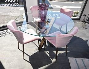 Tavolo rotondo in vetro Shangai Riflessi in Offerta Outlet