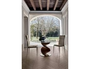 Tavolo moderno in vetro basamento in legno noce canaletto