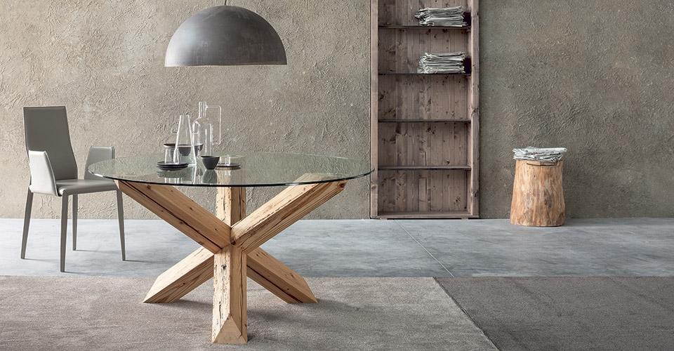 Tavolo rotondo piano vetro trasparente tavoli a prezzi for Tavoli rotondi in vetro allungabili