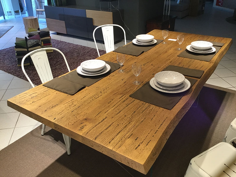 Tavolo rovere massello corteccia 220 x 100 sp 5 5 tavoli - Tavola da giardino prezzi ...