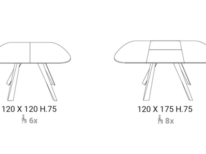 Tavoli Cristallo Allungabili Reflex.Tavolo Sagomato In Vetro Bombo Allungabile Ozzio In Offerta Outlet