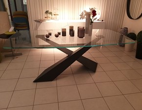 Tavolo sagomato in vetro Living Riflessi in Offerta Outlet