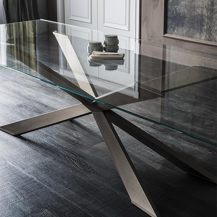 Tavolo spyder cattelan italia vetro legno wood tavoli a for Tavolo cristallo prezzi