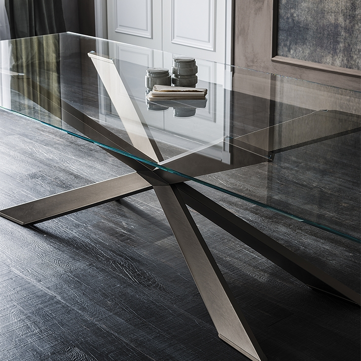 Tavolo spyder cattelan italia vetro legno wood tavoli a for Tavolo vetro legno