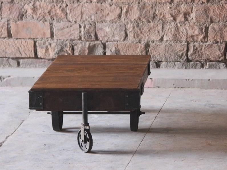 Tavolino Da Salotto Con Rotelle.Tavolo Tavolino Da Salotto Industrial Con Ruote Ferro Outlet Etnico A Prezzo Scontato 60