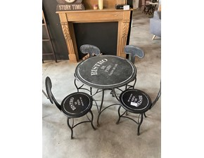 Tavolo Tavolo e 4 sedie Dialma brown in metallo Fisso