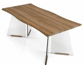 Tavolo Tavolo impiallacciato con base in vetro Mottes selection in legno Fisso