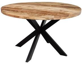 Tavolo Tavolo tondo industrial  ferro e legno design  Outlet etnico in legno Fisso