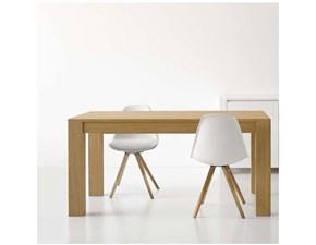 tavolo con gamboni in tinta rovere naturale allungabile