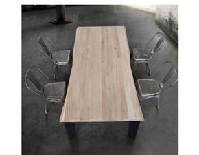 tavolo tempor790 con piano massiccio scortecciato