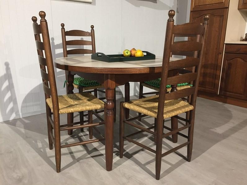 tavolo tondo legno di rovere piano laminato allungabile
