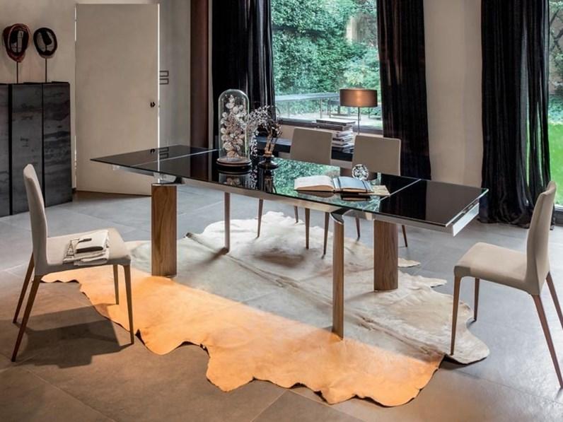 Tavolo Con Cristallo.Tavolo Tonin Casa Arcos Con Piano In Cristallo Verniciato Nero Scontato Del 30