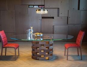 Tavolo mod.Colosseo con piano in vetro ellittico