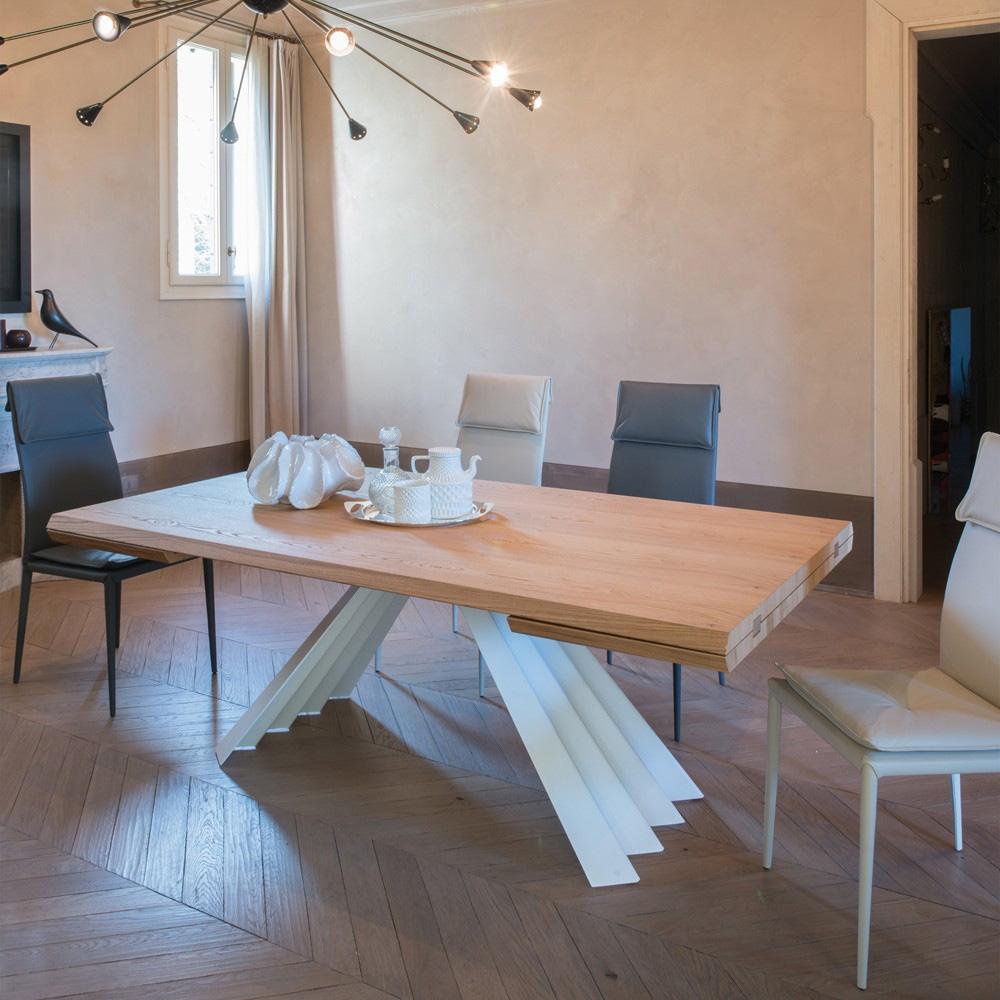 Tavolo Tonin Casa Ventaglio Allungabile Piano Legno Rovere