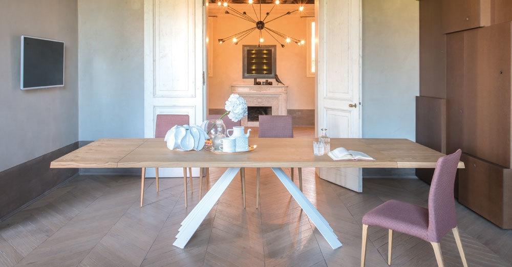 Tavolo tonin casa ventaglio allungabile piano legno rovere - Tavoli allungabili moderni prezzi ...