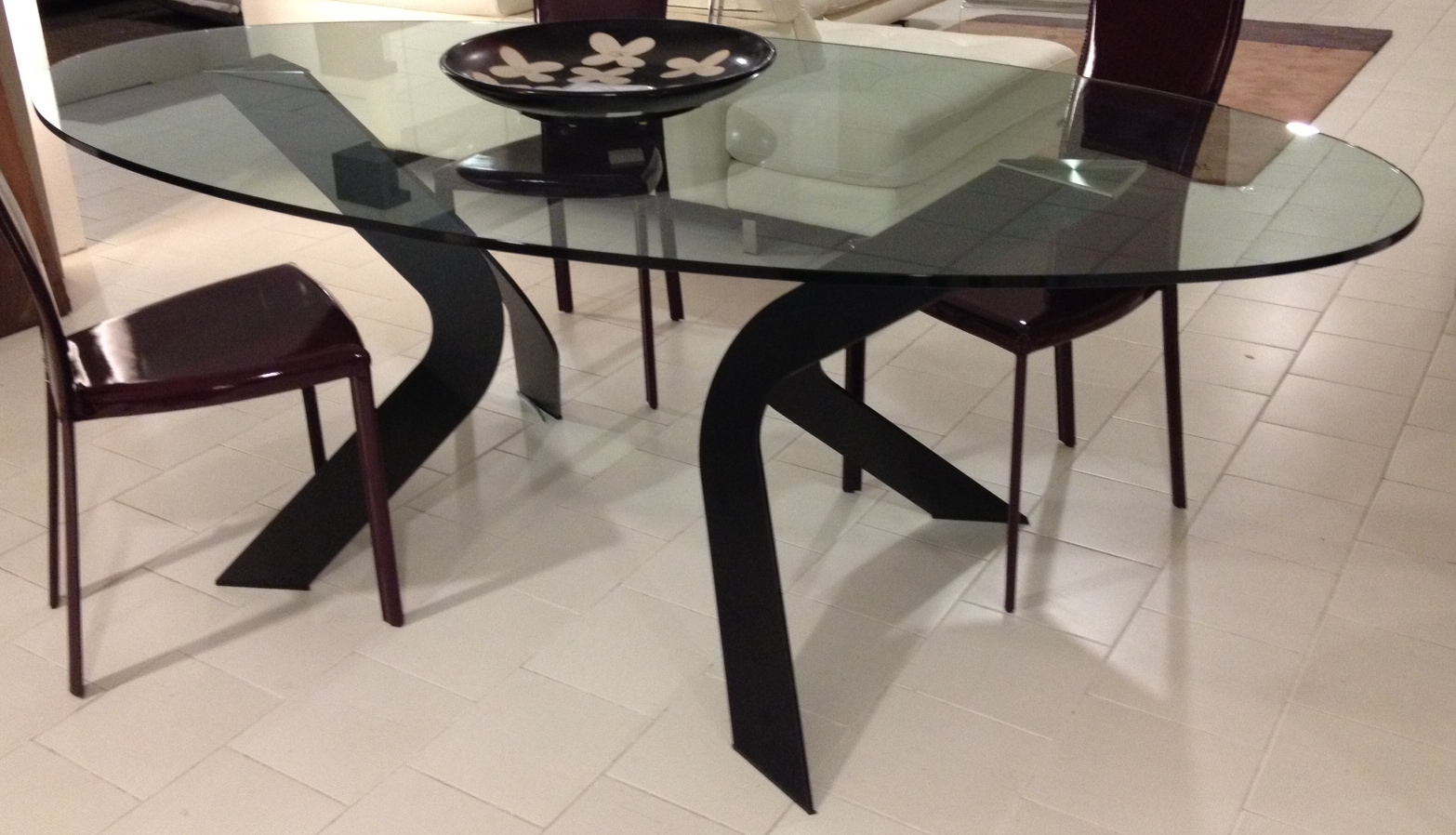 Tavoli moderni allungabili - Tavolo di vetro ovale ...