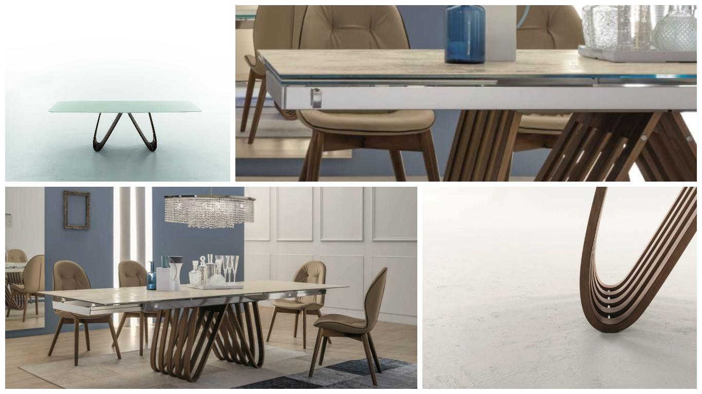 Tonin casa tavolo arpa rettangolari rettangolari for Casa di vetro contemporanea