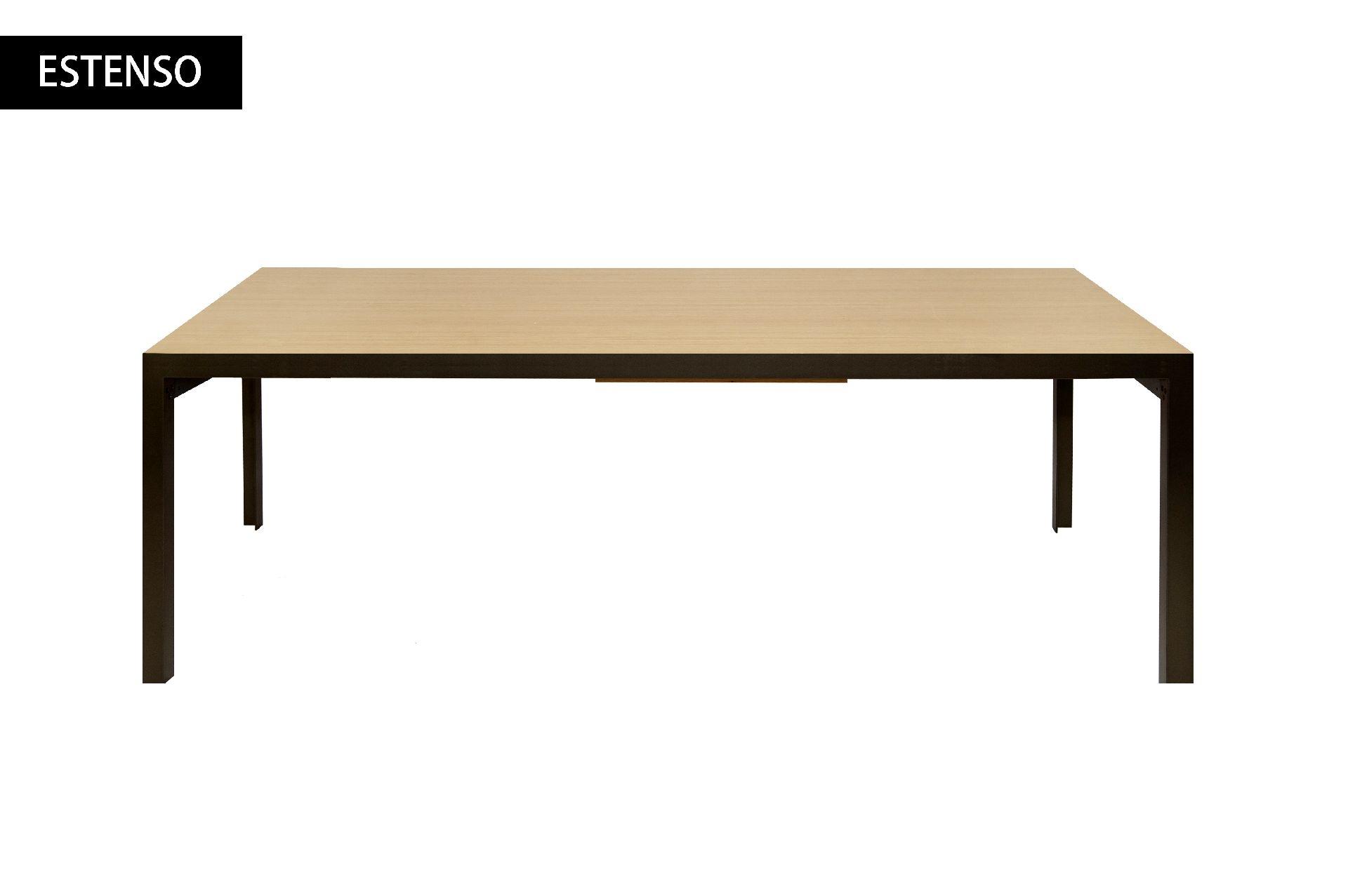 Zanotta tavolo estenso in acciaio grafite e legno in for Tavoli in legno e acciaio